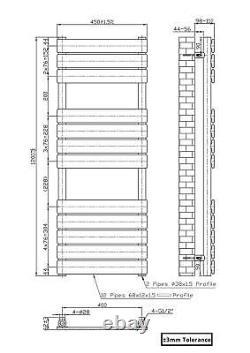 Modern Heated Towel Rail Radiator Juva 1200 x 450mm Satin Black Flat Panel