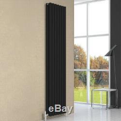 Modern Round Double Panel Black Vertical Designer Radiator Central Heating Reina