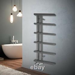 Oval Tube 988x500mm Modern Heated Bathroom Towel Rail Radiator Chrome Anthracite