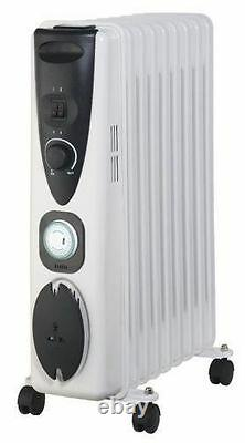 Portable 7 Fin 1500w Electric OIL FILLED RADIATOR Heater With Timer & Thermostat