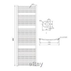 Premium Chrome Curved Heated Towel Radiator Rail 1800mm x 600mm Central Heating