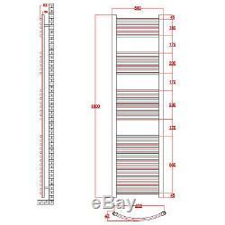 Premium Kudox Chrome Curved Heated Towel Radiator Rail 1800x500mm Central Heatin