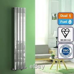 Quebec Chrome 1600x300 Vertical Flat Panel Designer Radiator Central Heating