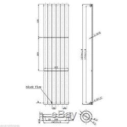 Quebec Chrome 1800x452 Vertical Flat Panel Designer Radiator Central Heating