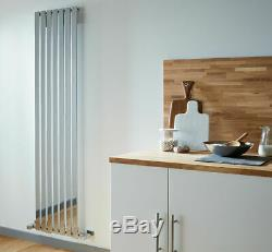 Serenade Flat Panel Designer Vertical Radiator, Tall, Chrome Central Heating