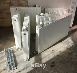 Set of six matching PURMO premium quality central heating radiators with TRVs