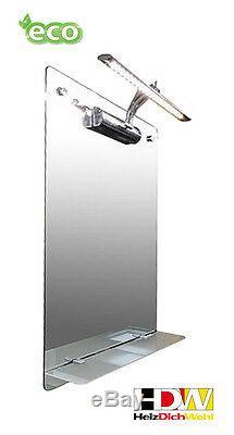 Spiegel-Infrarotheizung 110 Watt, LED-Beleuchtung, Infrarot Glasheizung, HDW