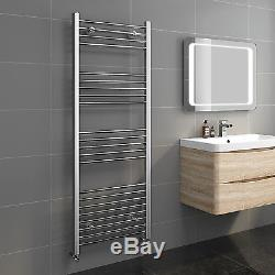 Straight Chrome Heated Towel Rail Bathroom Central Heating Rad Radiator Flat