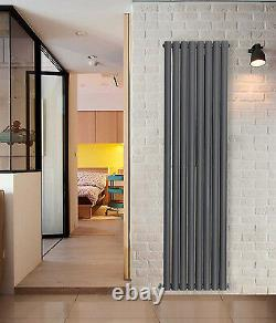 Tall Vertical Oval Panel Designer Double Column Radiator 1800x472mm Anthracite