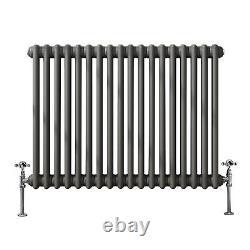 Traditional 2 Column Cast Iron Style Horizontal Radiator Anthracite 600x830 mm