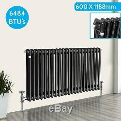 Traditional 3 Column Radiator Horizontal Central Heating Cast Iron Style black