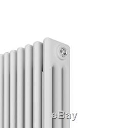Traditional 3 Column Radiators Vertical Central Heating Cast White UK Bedroom