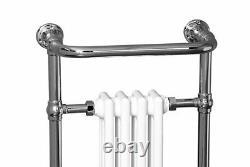 Traditional Bathroom Heated Towel Rail Column Radiator White & Chrome 940x479mm