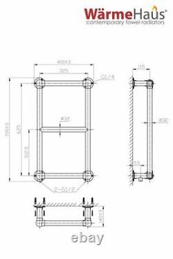 Traditional Bathroom Heated Warmer Towel Rail Radiator Rad 700 x 400 mm Chrome