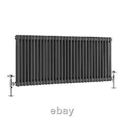 Traditional Cast Iron Style Anthracite Double Horizontal Radiator 600 x 1460mm
