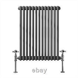 Traditional Cast Iron Style Horizontal Radiator Anthracite 2 Column 600x605 mm