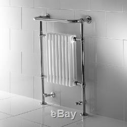 Traditional Chrome & White Central Heating Towel Radiator For Bathroom Fitzroy