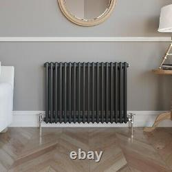 Traditional Colosseum Horizontal Double Bar Radiator 600 x 800mm Anthracite
