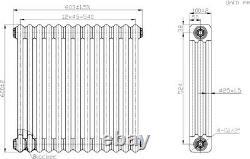 Traditional Colosseum Horizontal Triple Bar Radiator 600 x 600mm Anthracite