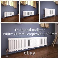 Traditional Radiator 2 Column Horizontal Heating Cast Iron Style Rad Width 300mm
