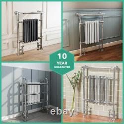 Traditional Radiator Victorian Heated Bathroom Chrome White Grey Towel Rail