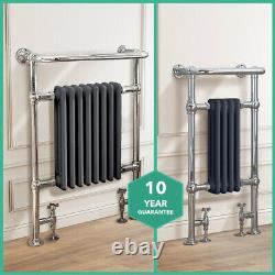 Traditional Radiator Victorian Heated Bathroom Grey-Chrome Towel Rail