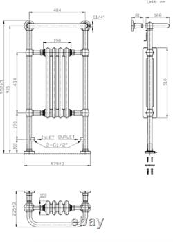 Traditional Victorian Bathroom Heated Towel Rail Radiator 952mm x 479mm NDT
