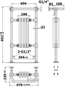 Traditional Victorian Bathroom Heated Towel Rail Radiator White/Chrome 952x479mm