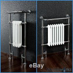 Traditional Victorian Chrome Heated Bathroom Towel Rail Radiators & Valves