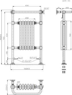 Traditional Victorian Column Bathroom Heated Towel Rail Radiator White/Chrome