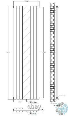 VeeBath Lyon Anthracite Vertical Double Panel Mirror Radiator 1800 x 505mm