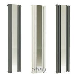 VeeBath Nantes Bathroom Mirror Radiator Vertical Panel Towel Rail Grey / White