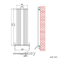 Vertical Designer Mirror Radiator 1800 x 500mm White Oval Column Single Heating