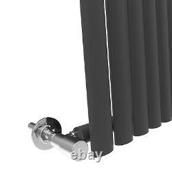 Vertical Designer Mirror Radiator 1800x500 Anthracite Oval Column Single Heated