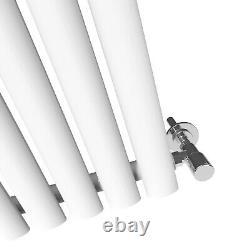 Vertical Designer Mirror White Radiator Oval Column Panel Tall Rads 1800x500mm