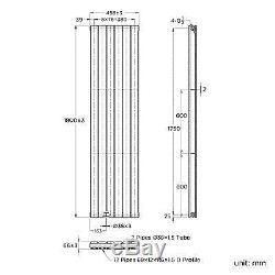 Vertical Designer Radiator Flat Panel Bathroom Central Heated Rad 1800x452mm