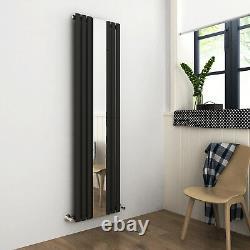 Vertical Designer Radiator Mirror Anthracite Single Oval Column Panel 1800x500mm