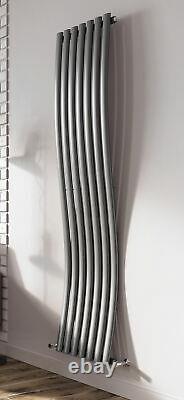 Vertical Designer Radiator Wave Style Oval Columns Anthracite Grey 1785x413mm