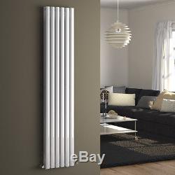 Vertical Designer White Oval Column Central Heating Panel Tall Bathroom Radiator