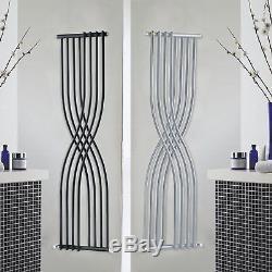 Vertical Designer Xcite Column Radiators Black Silver Central Heating Panel