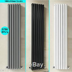 Vertical Tall Upright Oval Column Panel Radiator with Valves Central Heating