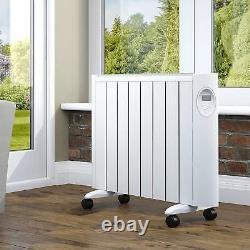 White 8 Eco Green Energy Efficient Ceramic Heater Radiator Digital Control 1500W
