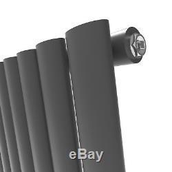 White & Anthracite Horizontal Designer Oval column Radiators Central Heating Rad