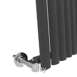 White & Anthracite Vertical Designer Oval column Radiators Central Heating Rads
