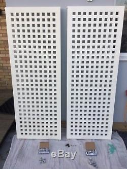 White Flat Grid Vertical DESIGNER Radiator 1900x700 Single Central Heating