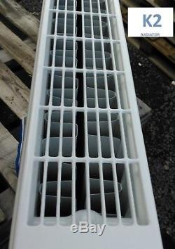 White Henrad Compact Central Heating Double Radiator 600 X 2400 K2 Btus 14183