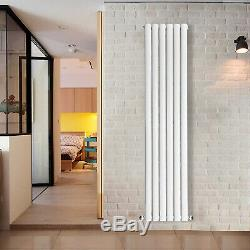 White Oval Column Designer Radiator Bathroom Central Heating Rads With Free Valves