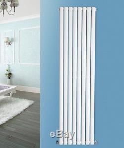 White Vertical Designer Double Central Heating Oval Column Panel Radiator Rad