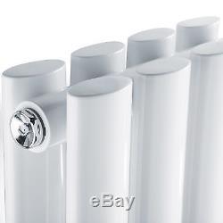 White Vertical Designer Double Central Heating Oval Column Panel Radiator Rad UK